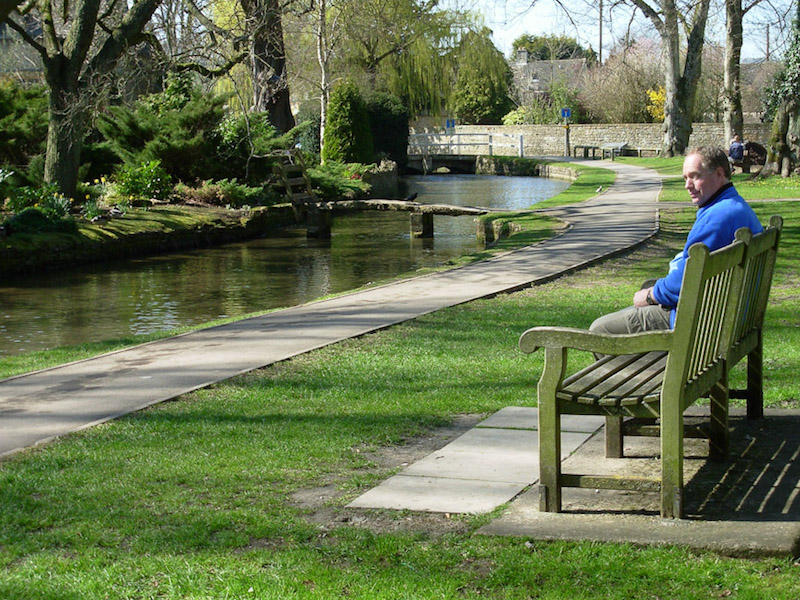 Hubby's favorite bench beside the River Windrush